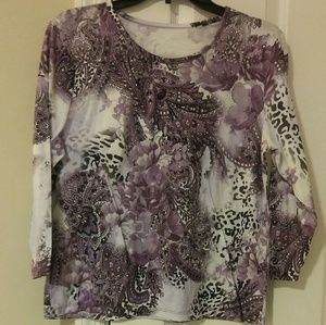 Allison Daley long sleeved purple floral blouse